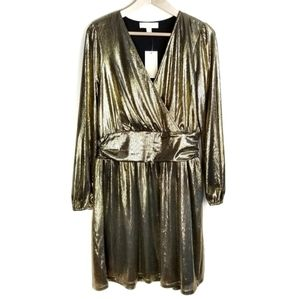 Michael Kors Gold Crossover Party Dress Size Large